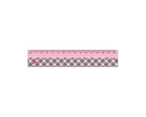 Линейка 15см Hatber Розовая Шотландка