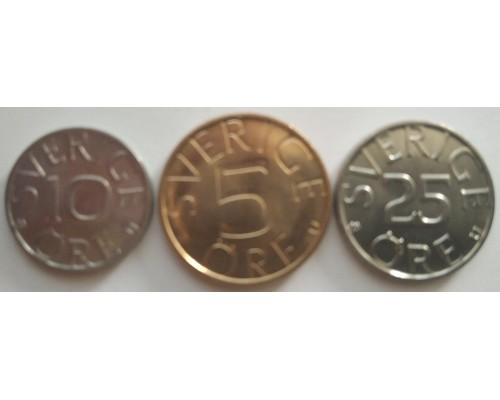 БЕЗ СКИДКИ Набор из 3 монет эре Швеция 197Х