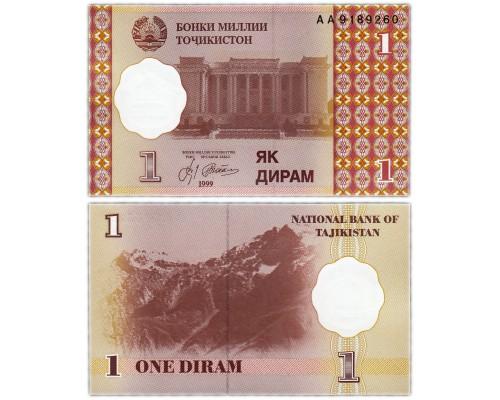 БЕЗ СКИДКИ Банкнота 1 дирам Таджикистан 1999 KR