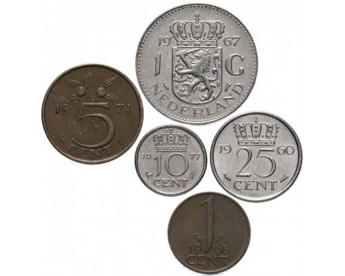 БЕЗ СКИДКИ Набор из 5 монет Нидерланды Юлианна 1950-1980