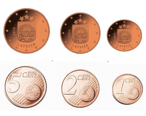 БЕЗ СКИДКИ Набор из 3 монет Латвия Евроценты