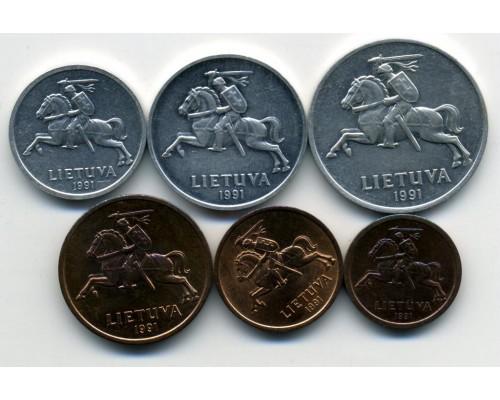 БЕЗ СКИДКИ Набор из 6 монет Литва 1991-2009