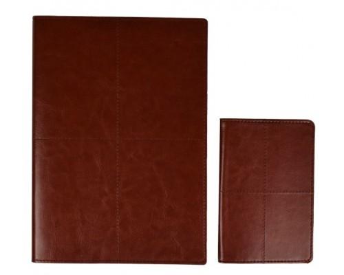 Записная книжка А5+ 120 листов + обложка для паспорта САРИФ КОРИЧНЕВЫЙ