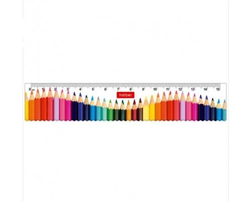 Линейка 15см Hatber Радужные карандаши