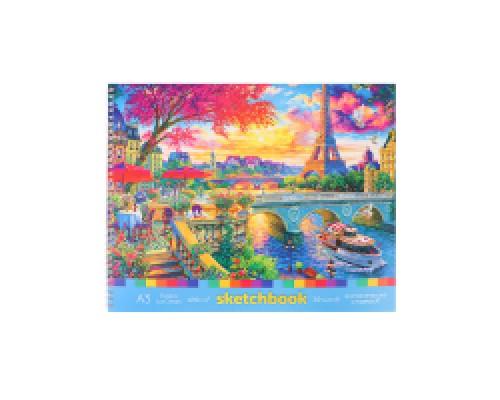 Скетчбук А3 Альбомный Франция мат лам, гребень, жест подложка, 30л, 100г С30-49