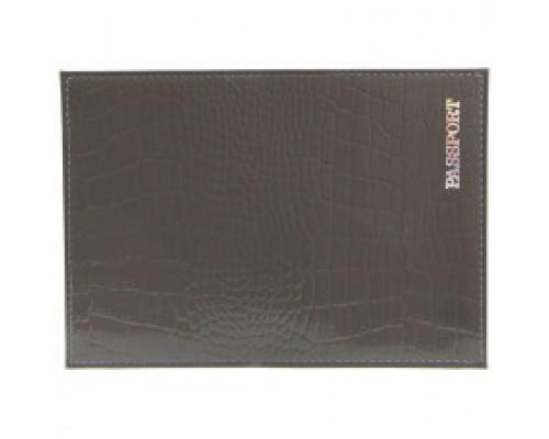 Обложка для паспорта из натур.кожи Крокодил, серый, тисн.серебро PASSPORT 6535
