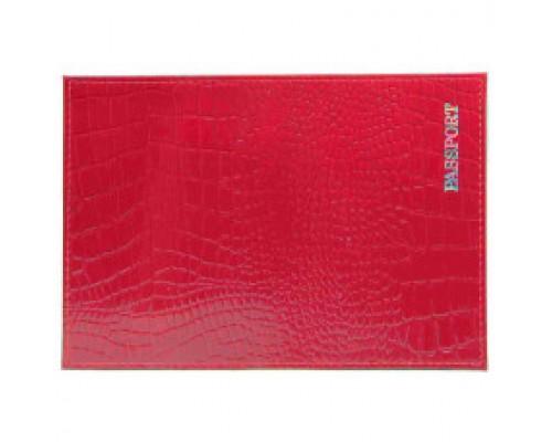Обложка для паспорта из натур.кожи Крокодил, красный, тисн.серебро PASSPORT 6601