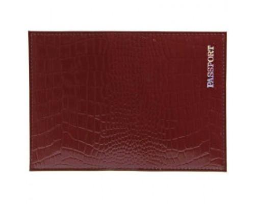 Обложка для паспорта из натур.кожи Крокодил, бордо, тисн.серебро PASSPORT 6602
