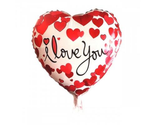 Воздушный шар фольгированный 42см I Love You КОКОС 187849